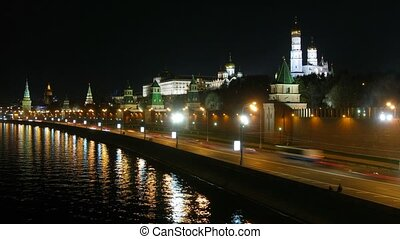 Moscow river and kremlin night