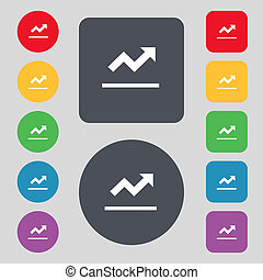 Graph chart, Diagram icon sign. A set of 12 colored buttons. Flat design.