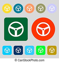 Steering wheel icon sign 12 colored buttons Flat design -...