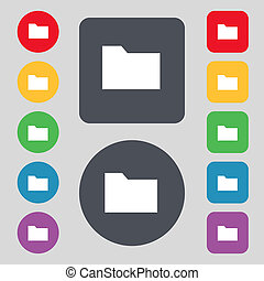 Document folder icon sign A set of 12 colored buttons Flat...