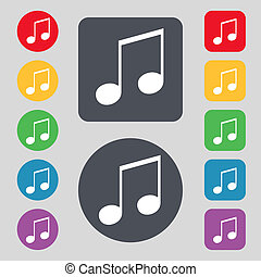 musical note, music, ringtone icon sign. A set of 12 colored...