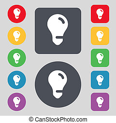 light bulb, idea icon sign A set of 12 colored buttons Flat...
