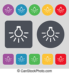 light bulb icon sign A set of 12 colored buttons Flat design...