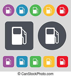 Auto gas station icon sign. A set of 12 colored buttons. Flat design.