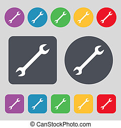 wrench icon sign A set of 12 colored buttons Flat design...