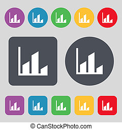Chart icon sign. A set of 12 colored buttons. Flat design.
