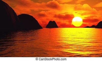 Rocks on sea, sunset