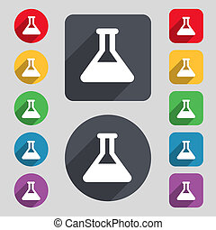 Conical Flask icon sign A set of 12 colored buttons and a...