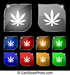 Cannabis leaf icon sign. Set of ten colorful buttons with...