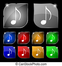 musical note, music, ringtone icon sign Set of ten colorful...