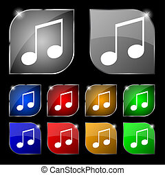 musical note, music, ringtone icon sign. Set of ten colorful...