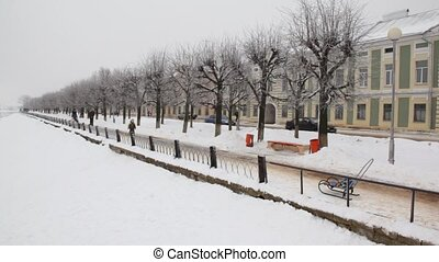 Riverside in winter city