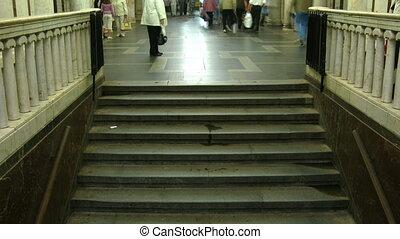 Stepladder in an underground hall