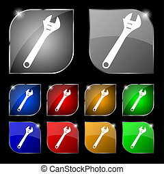 wrench icon sign Set of ten colorful buttons with glare...