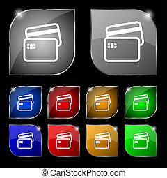 Credit card icon sign. Set of ten colorful buttons with...