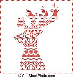 Winter pattern in reeindeer head sh - Scandinavian Nordic...