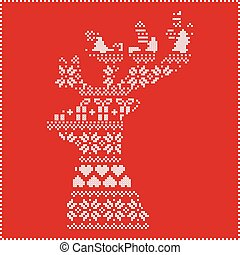 Winter pattern in reindeer head red