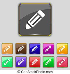 pencil icon sign Set with eleven colored buttons for your...