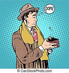 No money man looks in empty wallet pop art retro style....