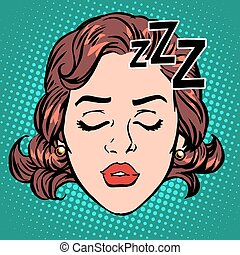 Emoji icon woman face sleep pop art retro style. Rest and...