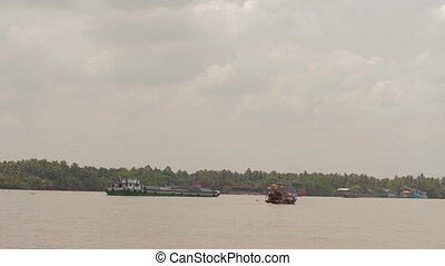 Boats on Mekong river in Vietnam - Mekong river in Vietnam....