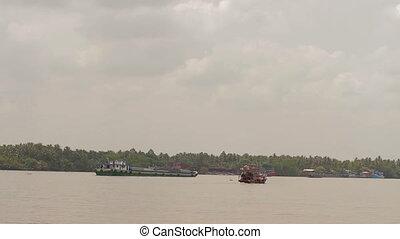 Boats on Mekong river in Vietnam - Mekong river in Vietnam...