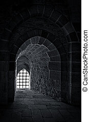Stone wall with a backlit window - Stone wall with one...
