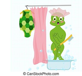 Vector embarrased and frightened turtle in bathroom took off...