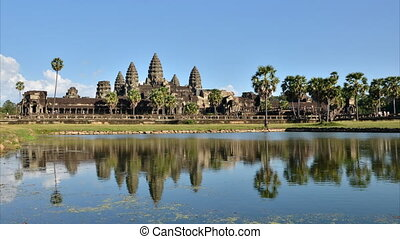 Angkor Wat with reflection in water, Siem Reap, Cambodia,...