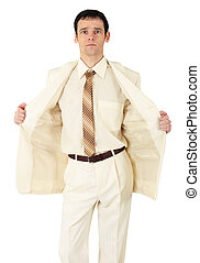 Fashionably dressed young man on white background