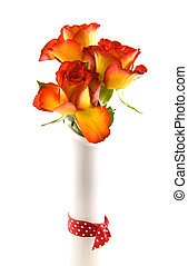 Beautyfull roses - Red yellow roses in a vase with spotted...