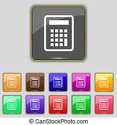 Calculator icon sign. Set with eleven colored buttons for your site.