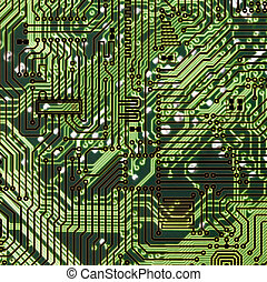 Circuit board dark green hi-tech texture - Circuit board...