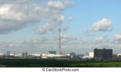 City, tower of Ostankino on the centre