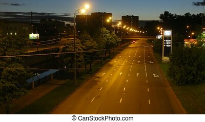 Highway in a city in the evening