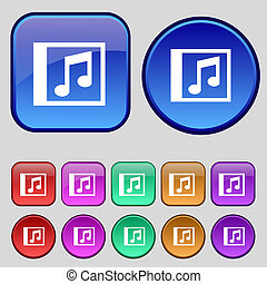 Audio, MP3 file icon sign. A set of twelve vintage buttons...