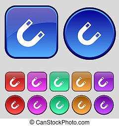 imán, herradura, icono, signo., Un, Conjunto, de,...