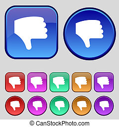 Dislike, Thumb down, Hand finger down icon sign A set of...