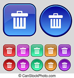 Recycle bin icon sign. A set of twelve vintage buttons for your design.