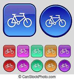 bike icon sign A set of twelve vintage buttons for your...