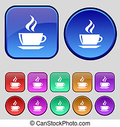 tea, coffee icon sign A set of twelve vintage buttons for...