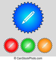 Pencil sign icon Edit content button Set colur buttons...