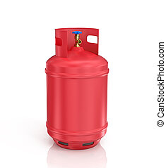 red propane cylinder with compressed gas on a white background