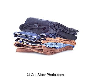 Stack of jeans on a white background