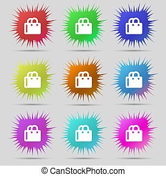 shopping bag icon sign A set of nine original needle buttons...