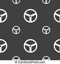 Steering wheel icon sign Seamless pattern on a gray...