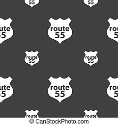 Route 55 highway icon sign. Seamless pattern on a gray background.