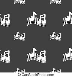 musical note, music, ringtone icon sign. Seamless pattern on...