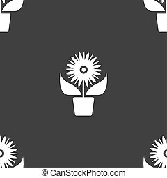 Flowers in pot icon sign. Seamless pattern on a gray background.