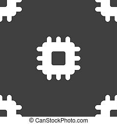 Central Processing Unit icon sign. Seamless pattern on a gray background.